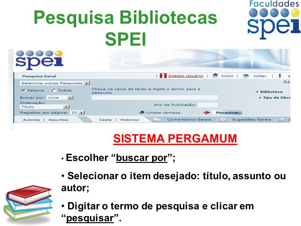 Pesquisa Bibliotecas SPEI
