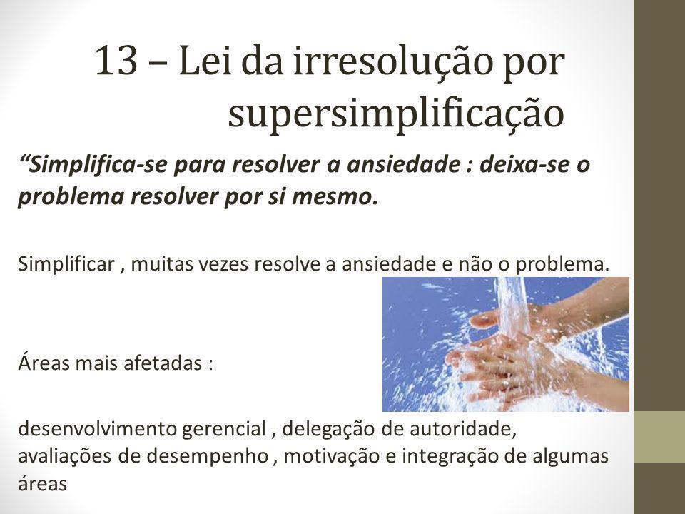 13 – Lei da irresolução por supersimplificação