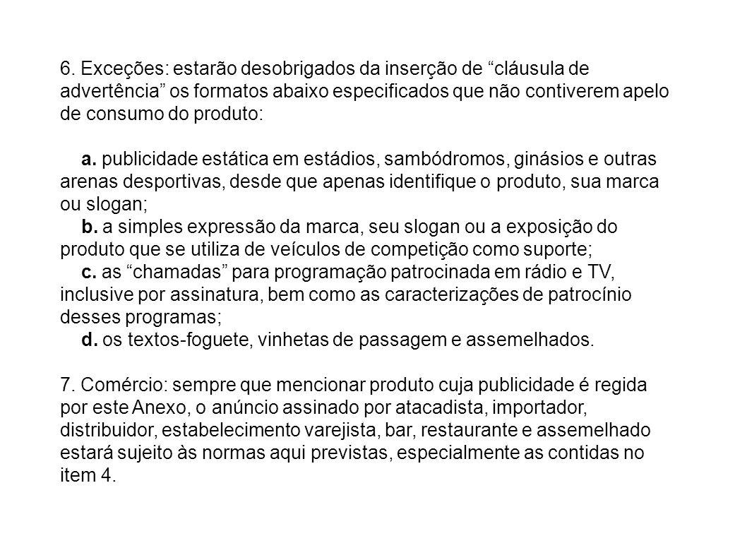 6. Exceções: estarão desobrigados da inserção de cláusula de advertência os formatos abaixo especificados que não contiverem apelo de consumo do produto:
