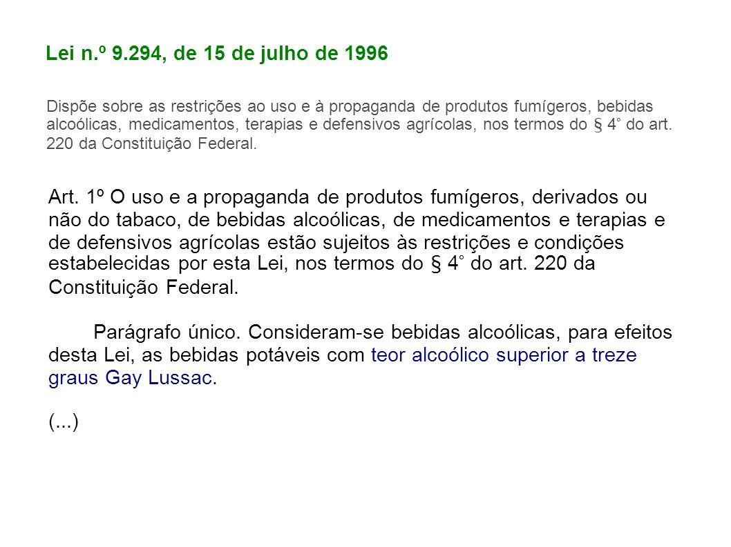 Lei n.º 9.294, de 15 de julho de 1996