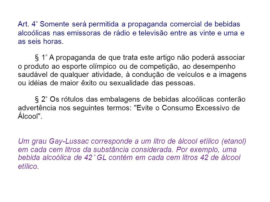 Art. 4° Somente será permitida a propaganda comercial de bebidas alcoólicas nas emissoras de rádio e televisão entre as vinte e uma e as seis horas.