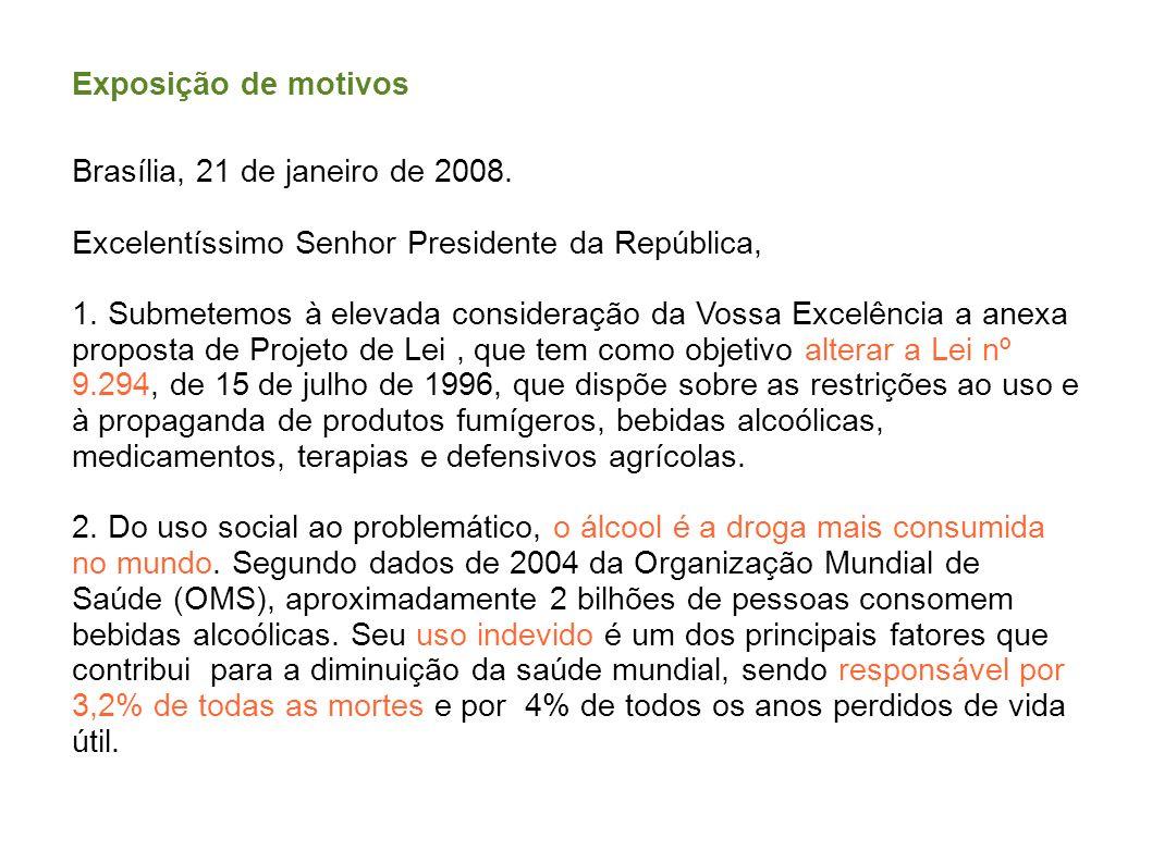 Exposição de motivos Brasília, 21 de janeiro de 2008. Excelentíssimo Senhor Presidente da República,