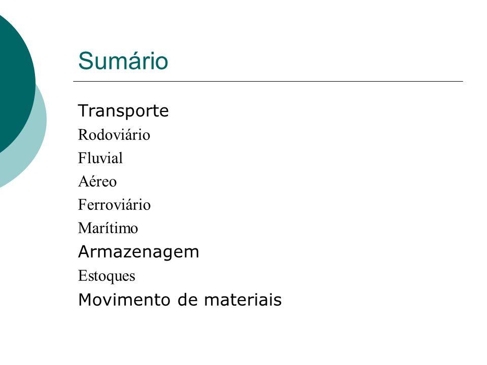Sumário Transporte Armazenagem Movimento de materiais Rodoviário