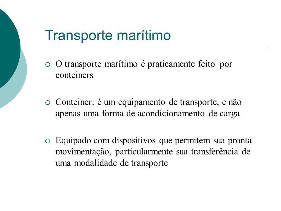 Transporte marítimo O transporte marítimo é praticamente feito por conteiners.