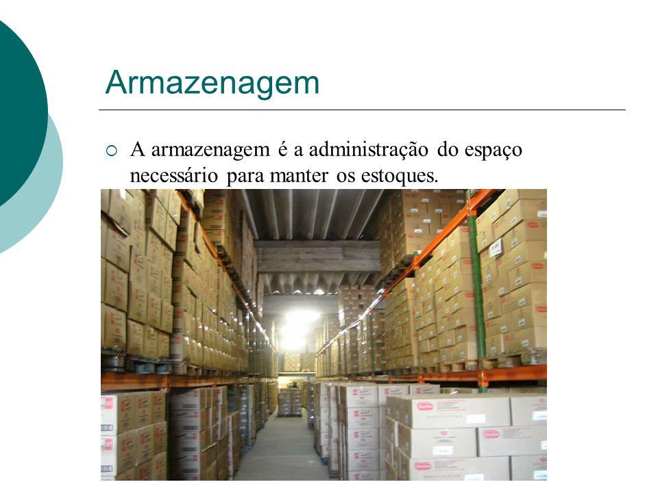 Armazenagem A armazenagem é a administração do espaço necessário para manter os estoques.
