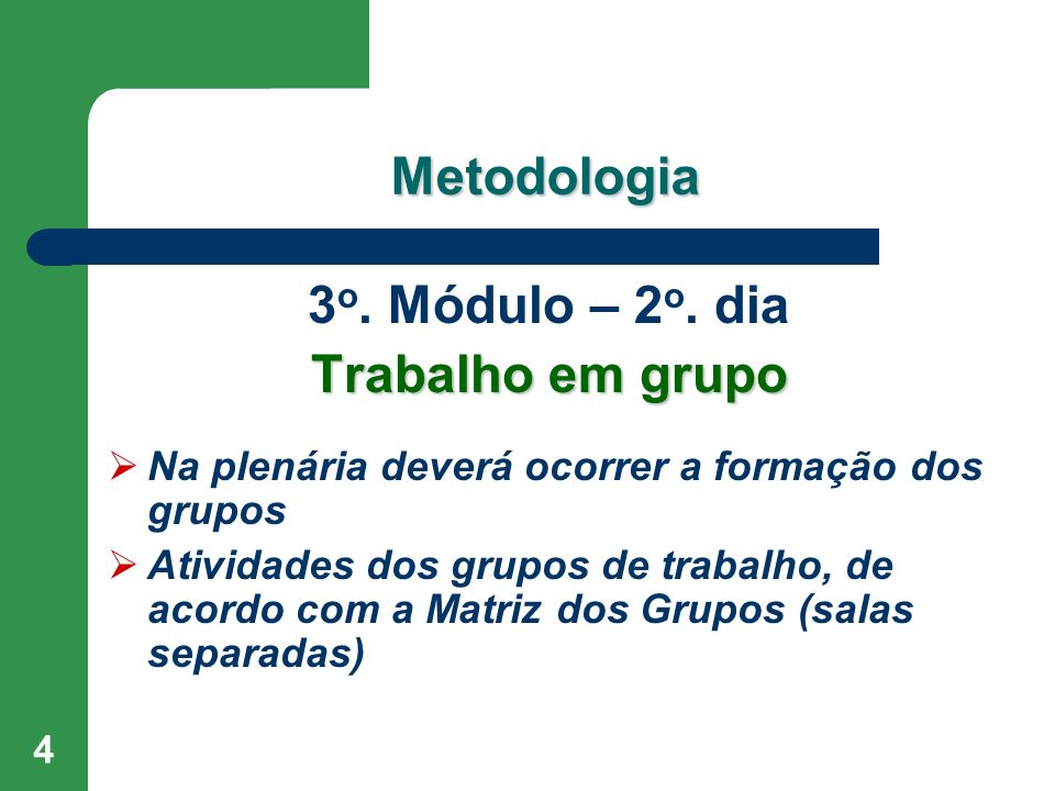 Metodologia 3o. Módulo – 2o. dia Trabalho em grupo