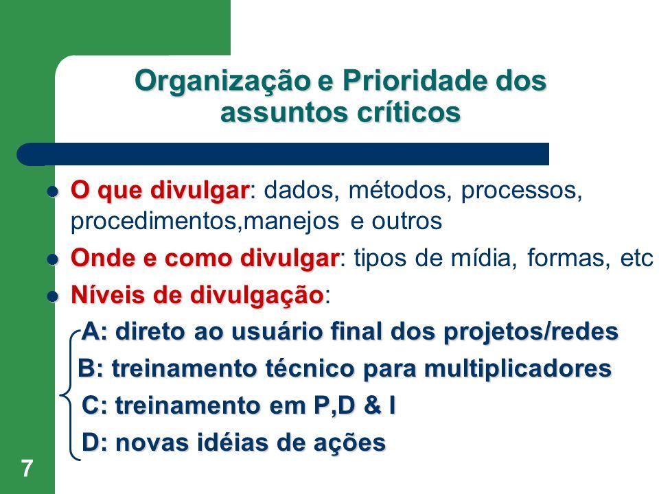 Organização e Prioridade dos assuntos críticos