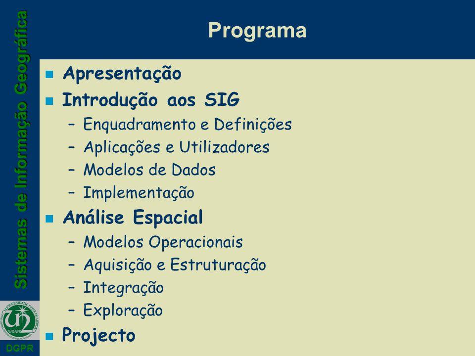 Programa Apresentação Introdução aos SIG Análise Espacial Projecto