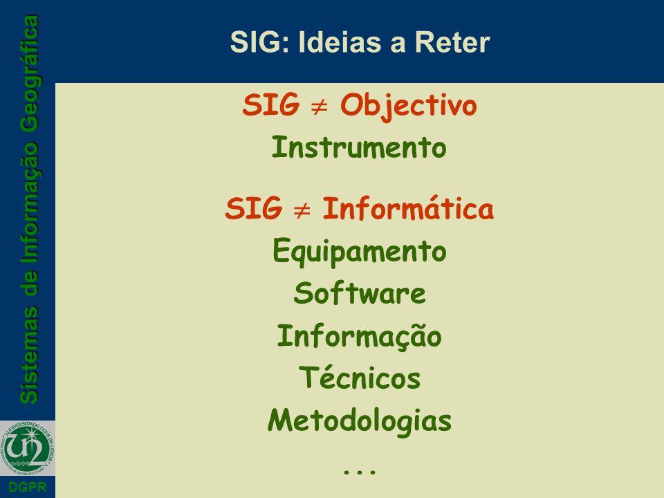 SIG: Ideias a Reter SIG  Objectivo. Instrumento. SIG  Informática. Equipamento. Software. Informação.