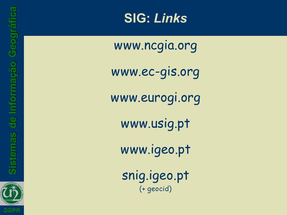 SIG: Links www.ncgia.org www.ec-gis.org www.eurogi.org www.usig.pt