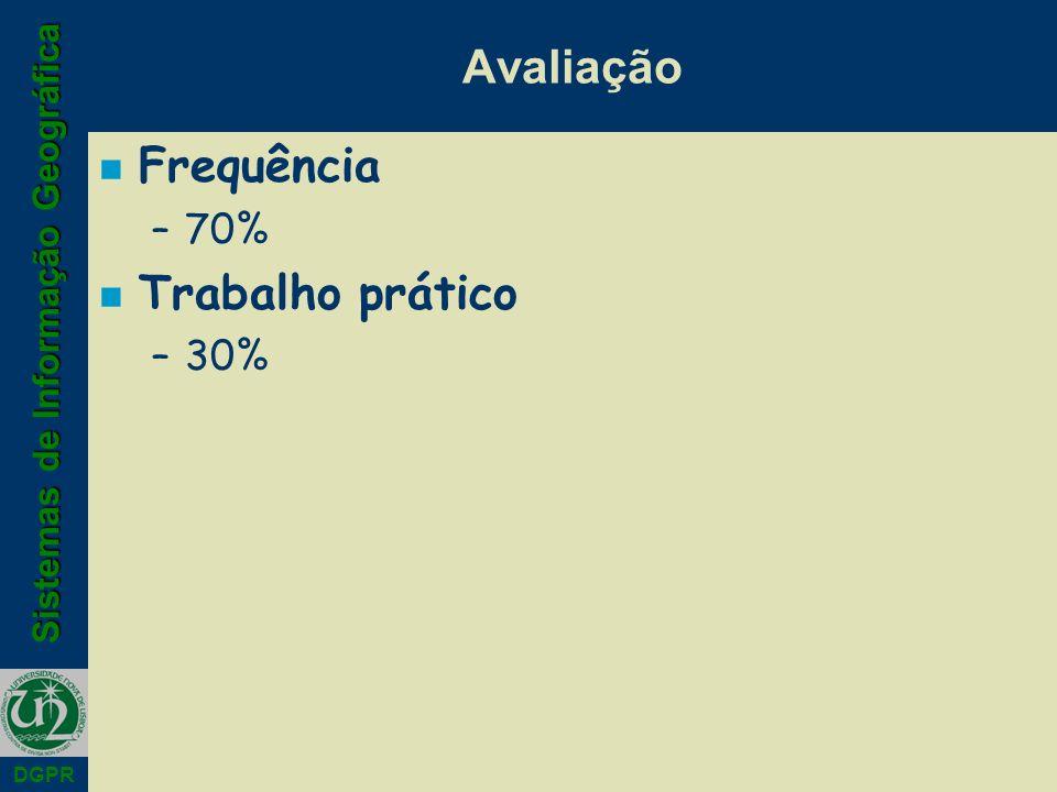 Avaliação Frequência 70% Trabalho prático 30%