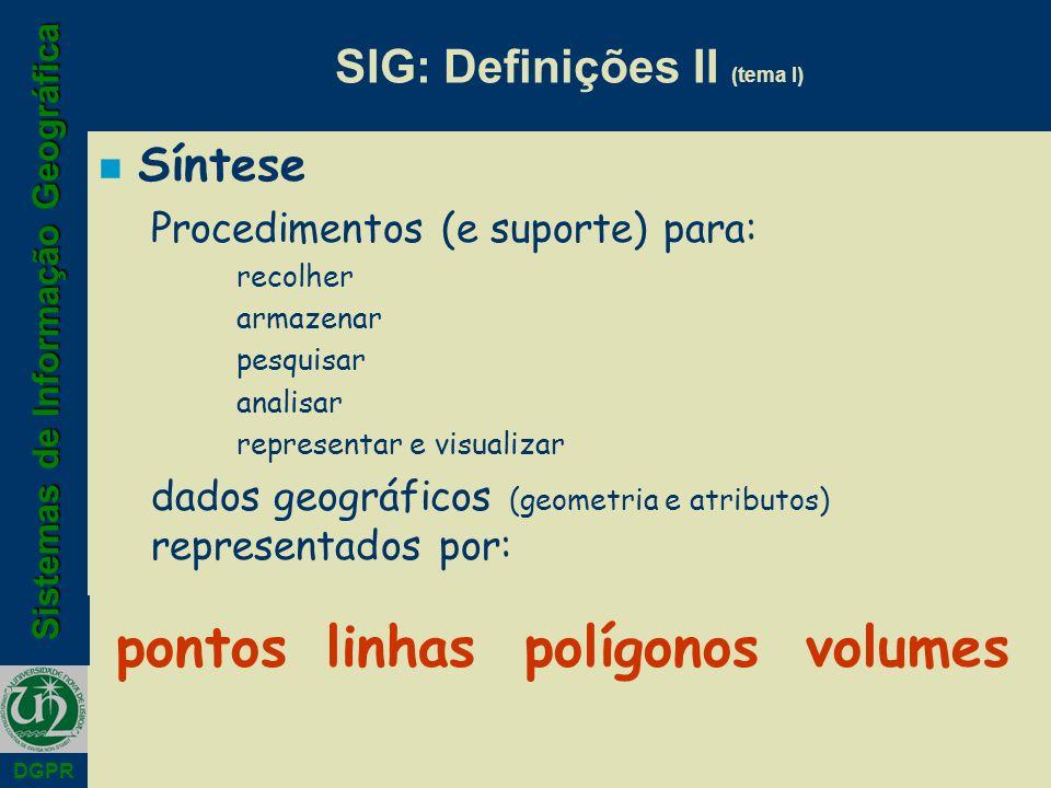 SIG: Definições II (tema I)
