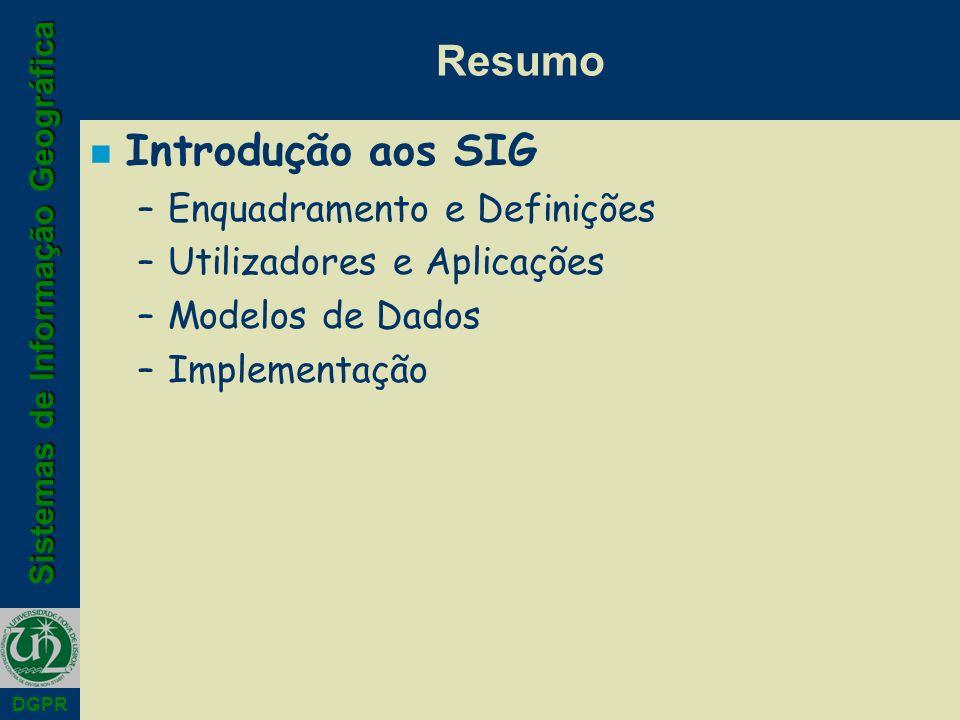 Resumo Introdução aos SIG Enquadramento e Definições