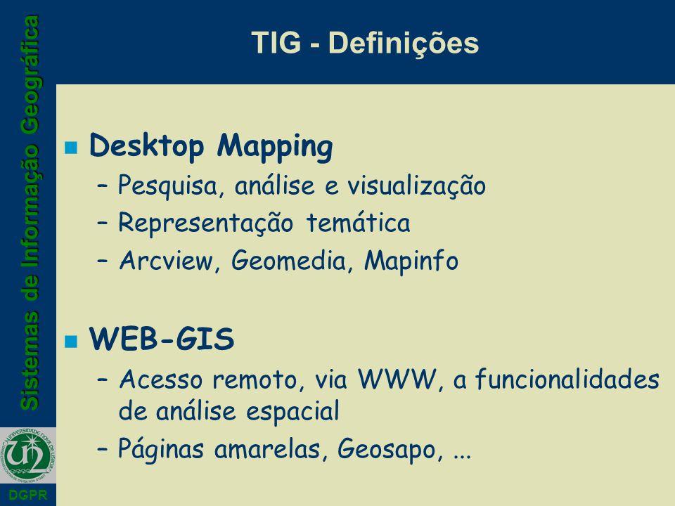 TIG - Definições Desktop Mapping WEB-GIS