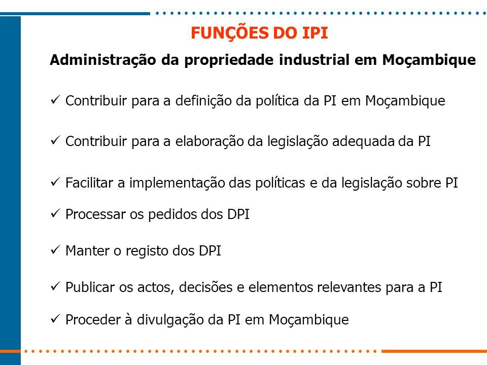 FUNÇÕES DO IPI Administração da propriedade industrial em Moçambique
