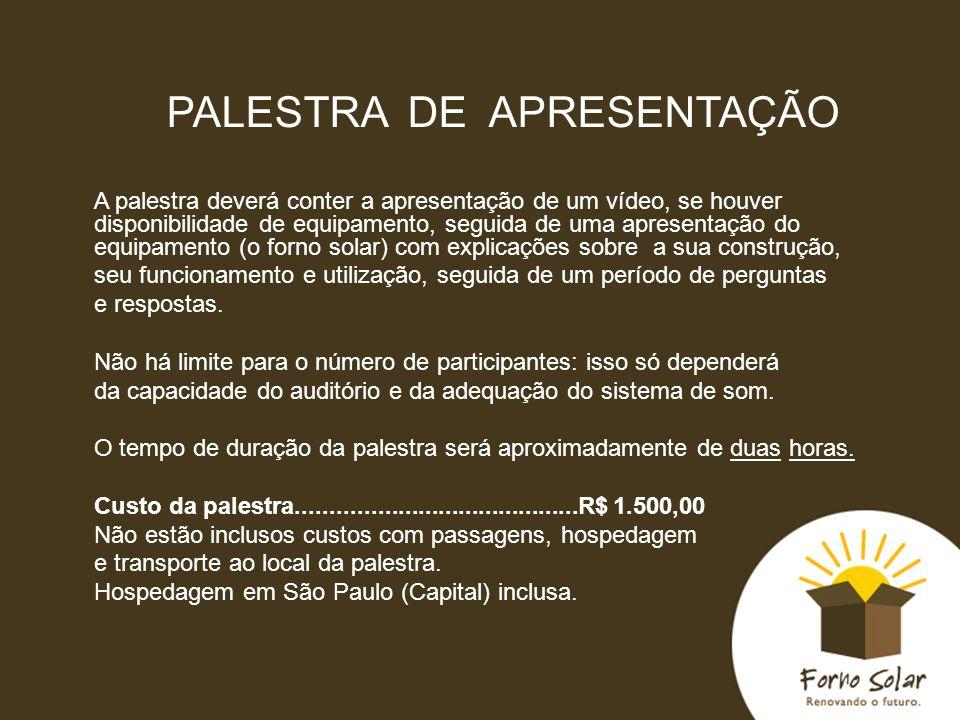 PALESTRA DE APRESENTAÇÃO