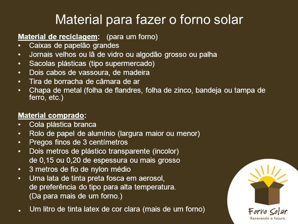 Material para fazer o forno solar