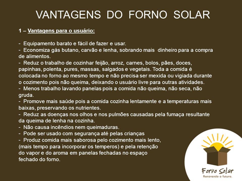 VANTAGENS DO FORNO SOLAR