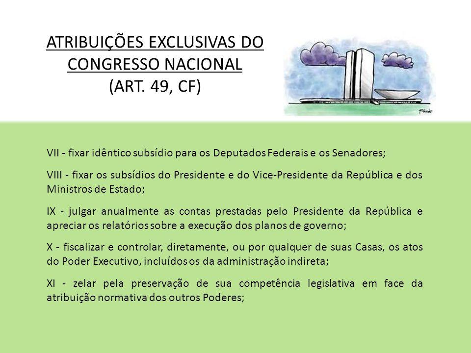 ATRIBUIÇÕES EXCLUSIVAS DO CONGRESSO NACIONAL (ART. 49, CF)