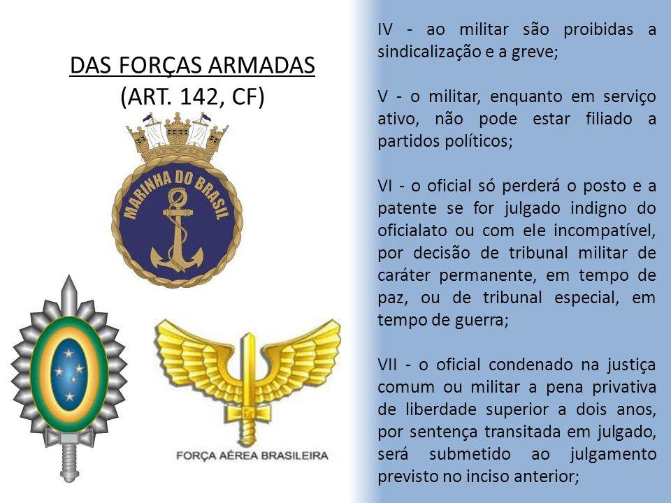 DAS FORÇAS ARMADAS (ART. 142, CF)