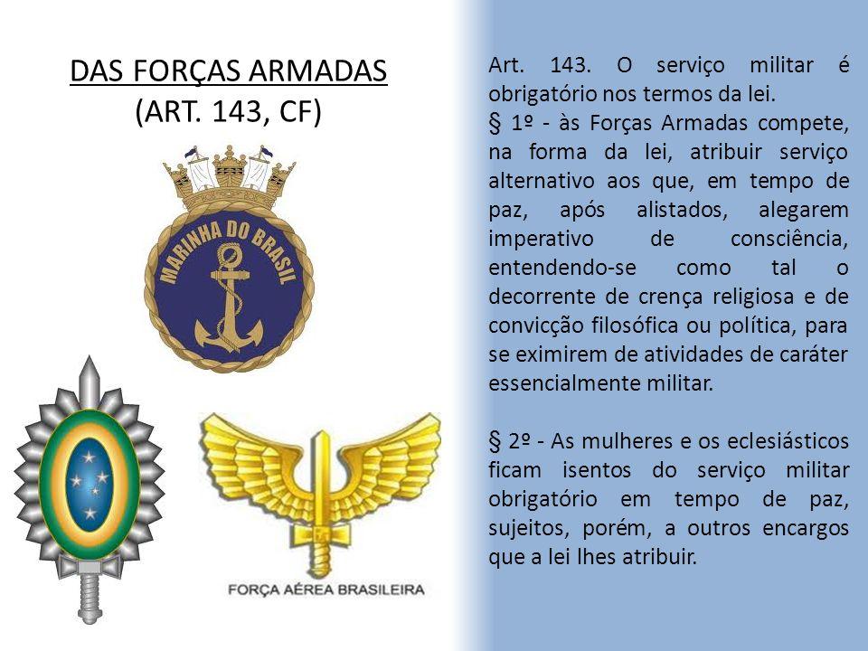 DAS FORÇAS ARMADAS (ART. 143, CF)