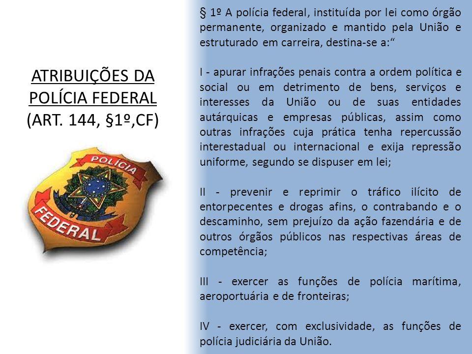 ATRIBUIÇÕES DA POLÍCIA FEDERAL (ART. 144, §1º,CF)