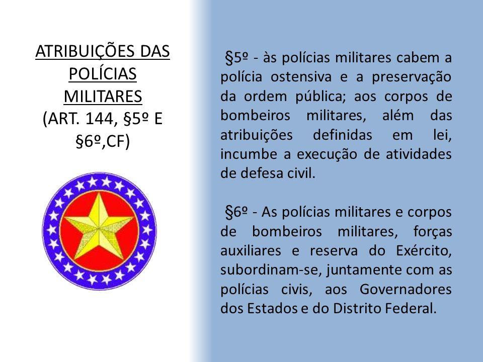 ATRIBUIÇÕES DAS POLÍCIAS MILITARES (ART. 144, §5º E §6º,CF)