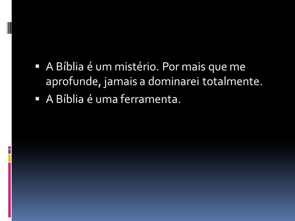 A Bíblia é um mistério. Por mais que me aprofunde, jamais a dominarei totalmente.