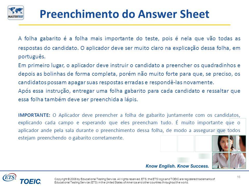 Preenchimento do Answer Sheet