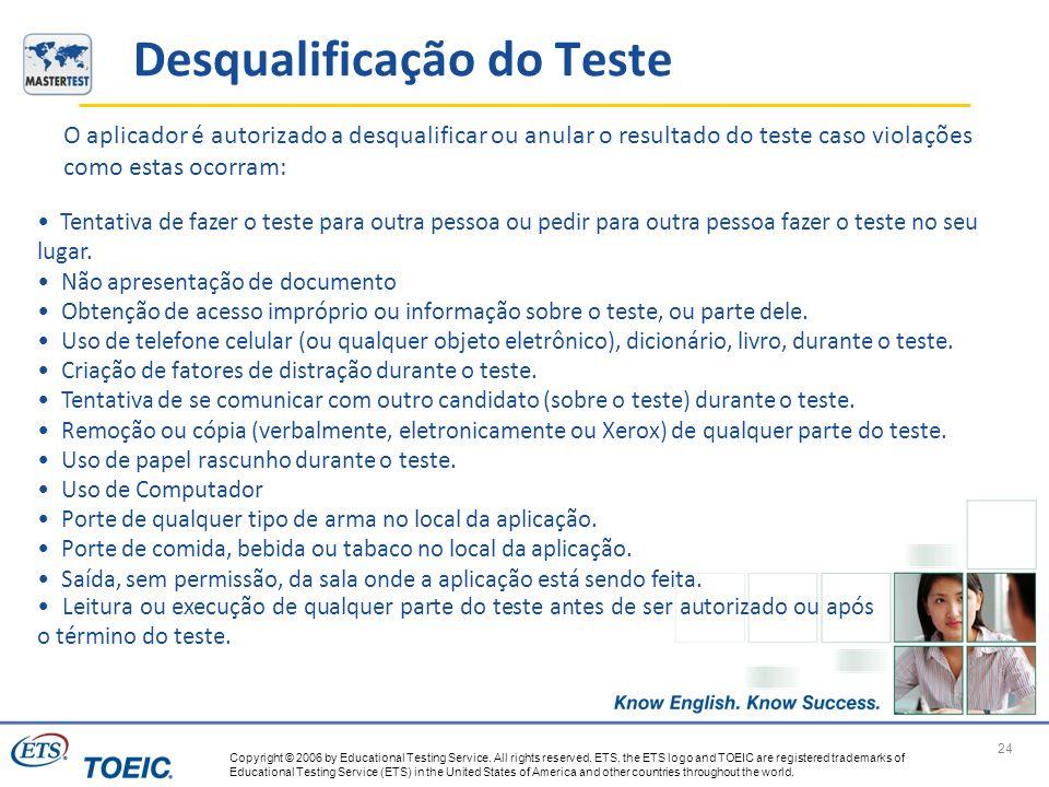 Desqualificação do Teste