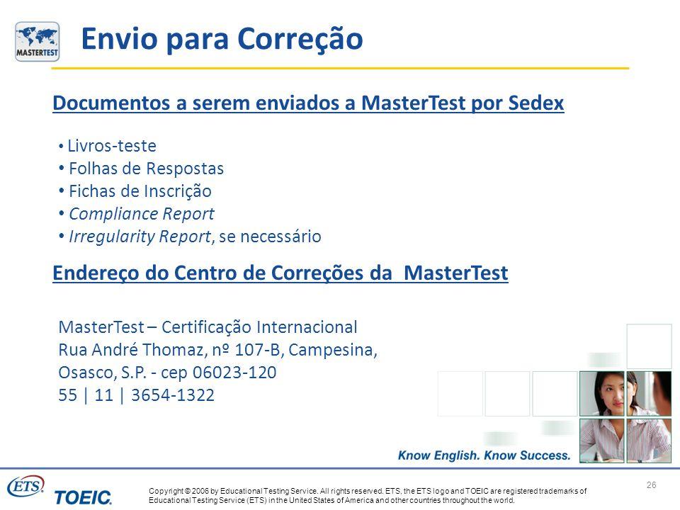 Envio para Correção Documentos a serem enviados a MasterTest por Sedex