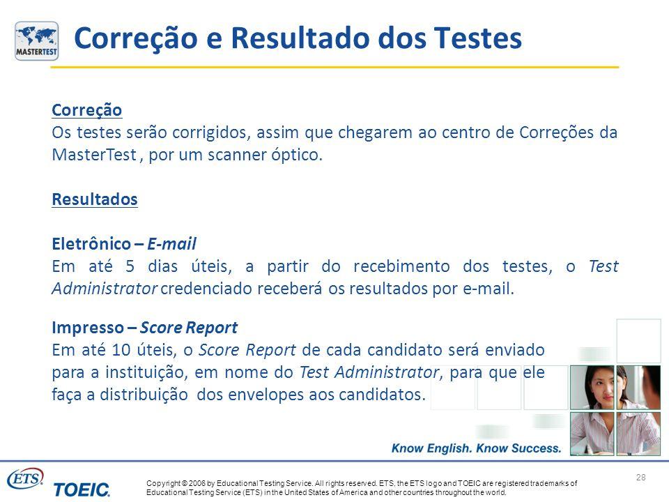 Correção e Resultado dos Testes