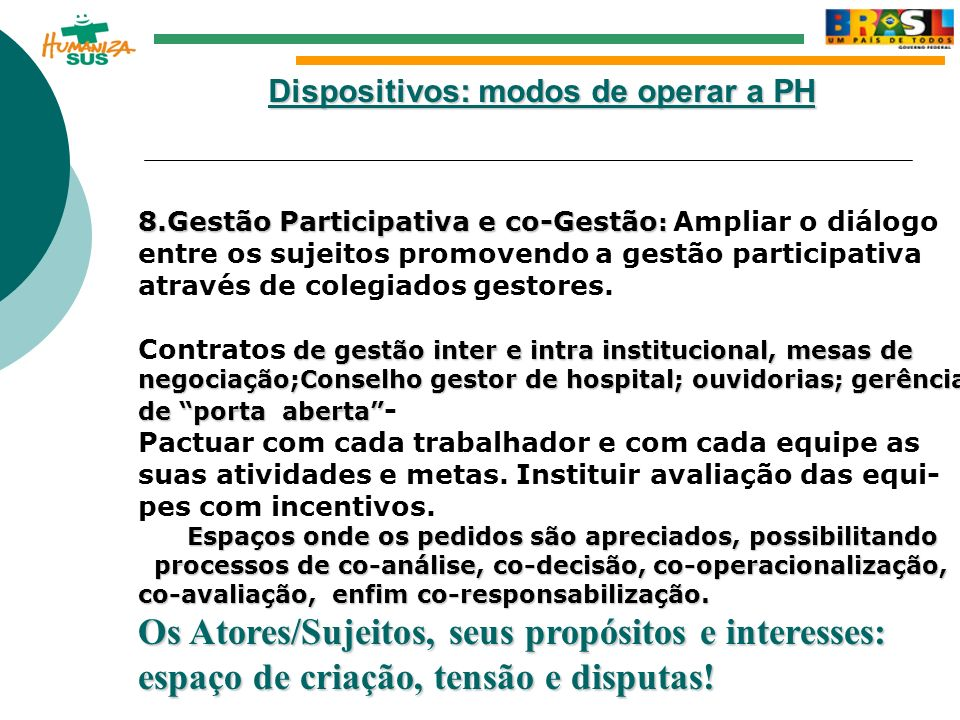 Dispositivos: modos de operar a PH