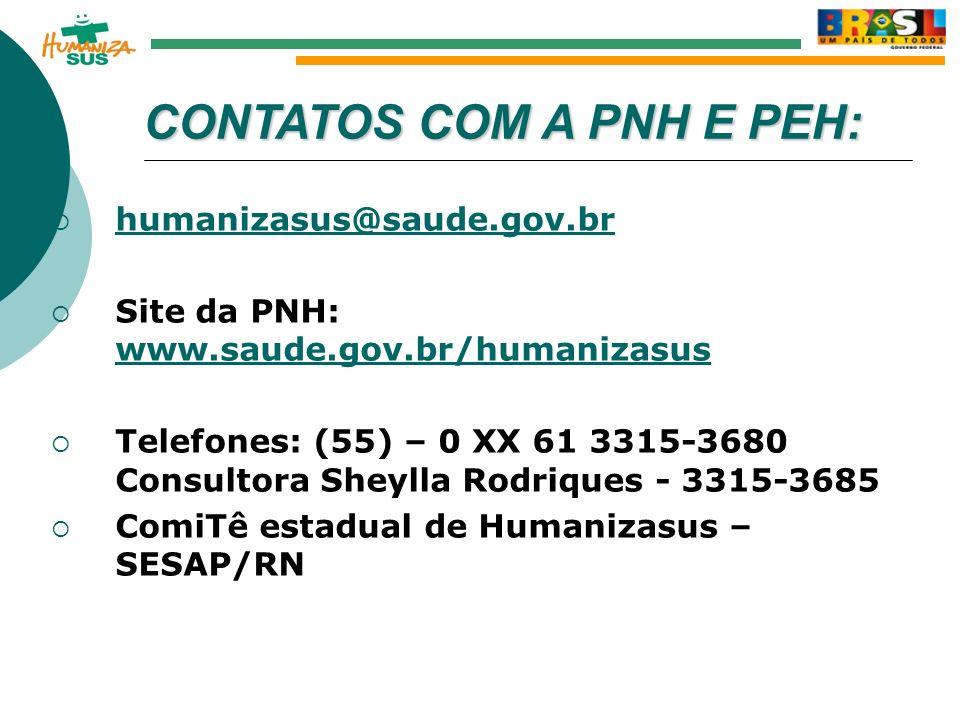 CONTATOS COM A PNH E PEH: