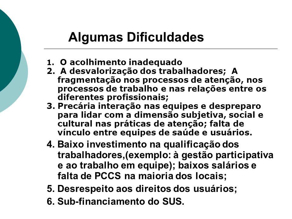 Algumas Dificuldades O acolhimento inadequado.