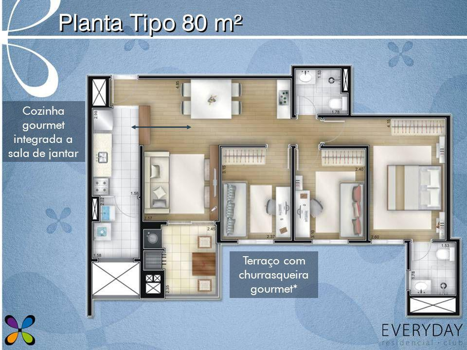 Planta Tipo 80 m² Cozinha gourmet integrada a sala de jantar