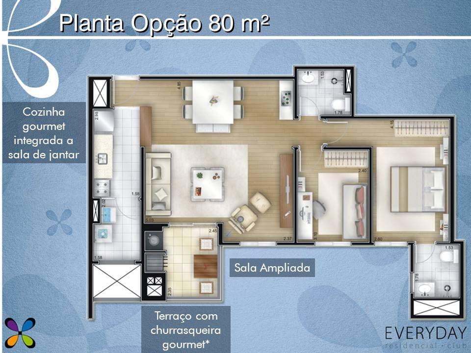 Planta Opção 80 m² Cozinha gourmet integrada a sala de jantar