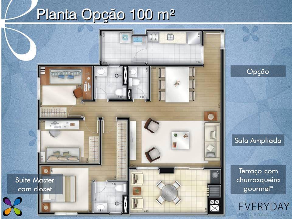Planta Opção 100 m² Opção Sala Ampliada