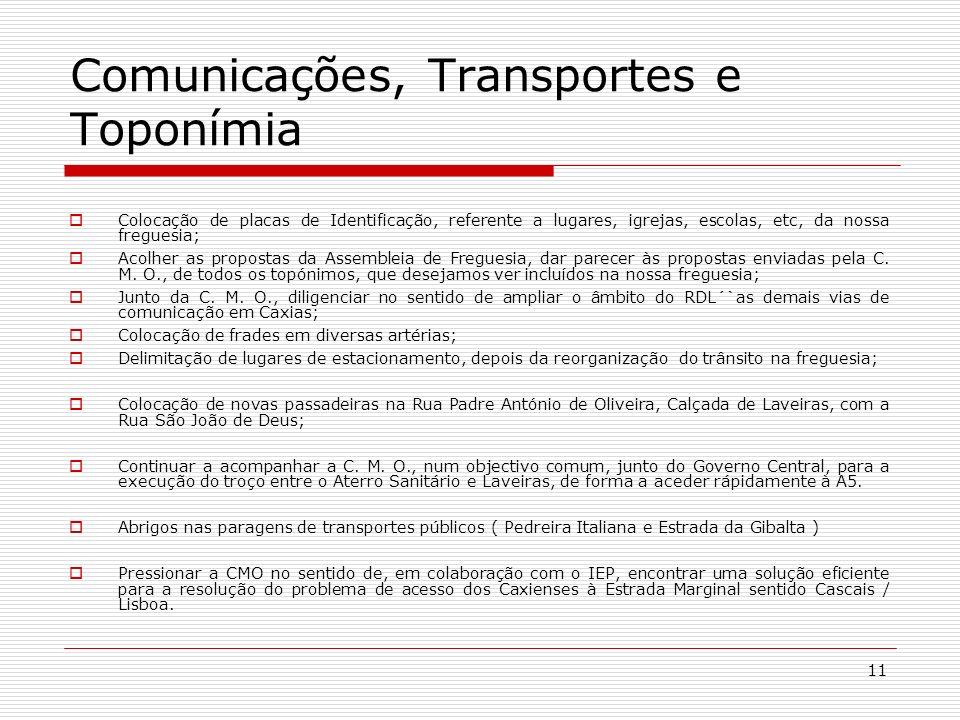 Comunicações, Transportes e Toponímia