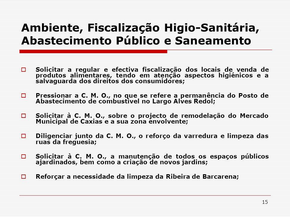 Ambiente, Fiscalização Higio-Sanitária, Abastecimento Público e Saneamento