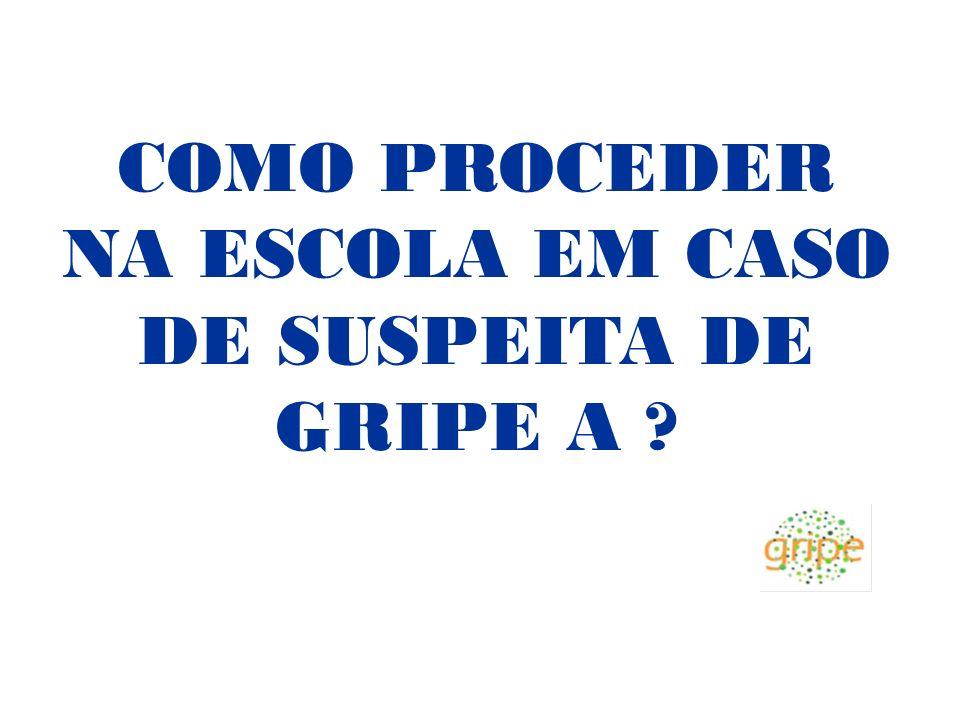 COMO PROCEDER NA ESCOLA EM CASO DE SUSPEITA DE GRIPE A