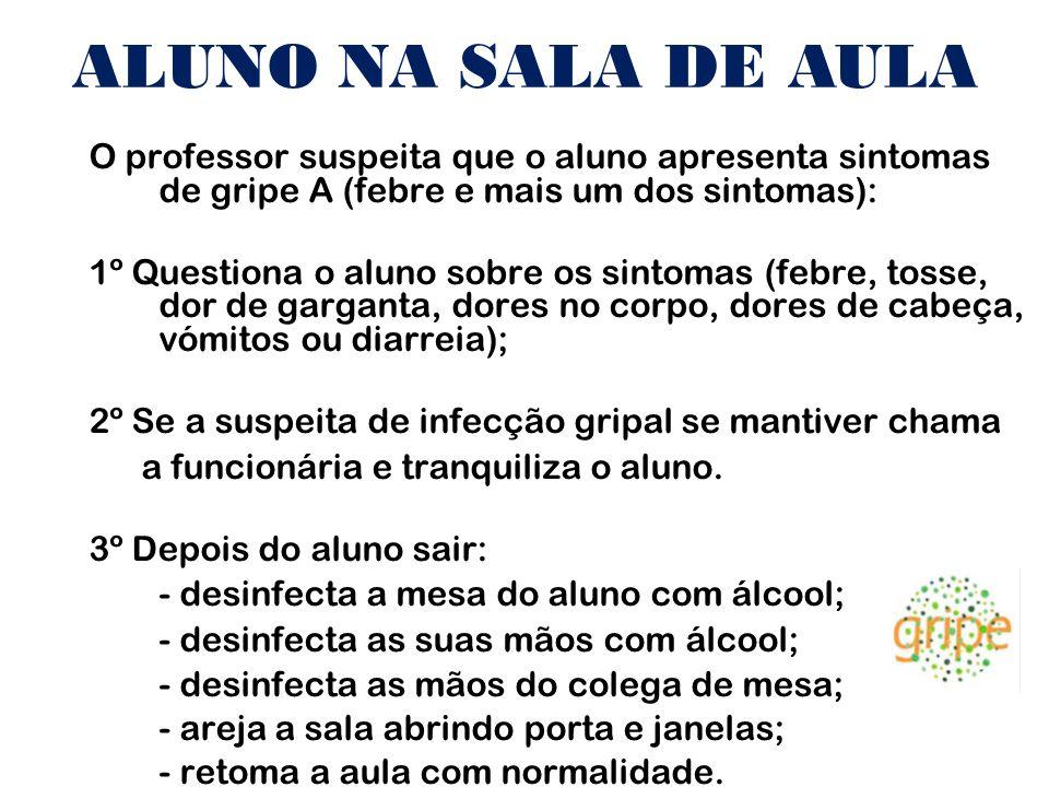 ALUNO NA SALA DE AULA O professor suspeita que o aluno apresenta sintomas de gripe A (febre e mais um dos sintomas):