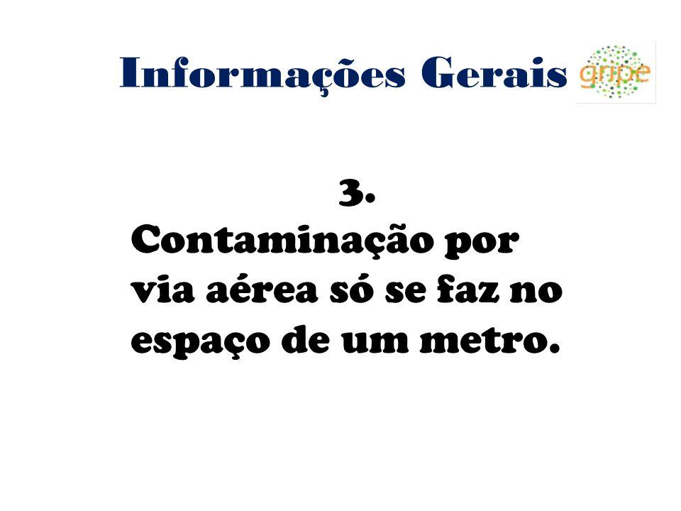 Informações Gerais 3. Contaminação por via aérea só se faz no espaço de um metro. 4 4