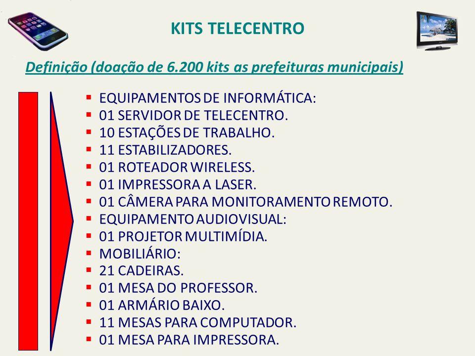 KITS TELECENTRO Definição (doação de 6.200 kits as prefeituras municipais) EQUIPAMENTOS DE INFORMÁTICA:
