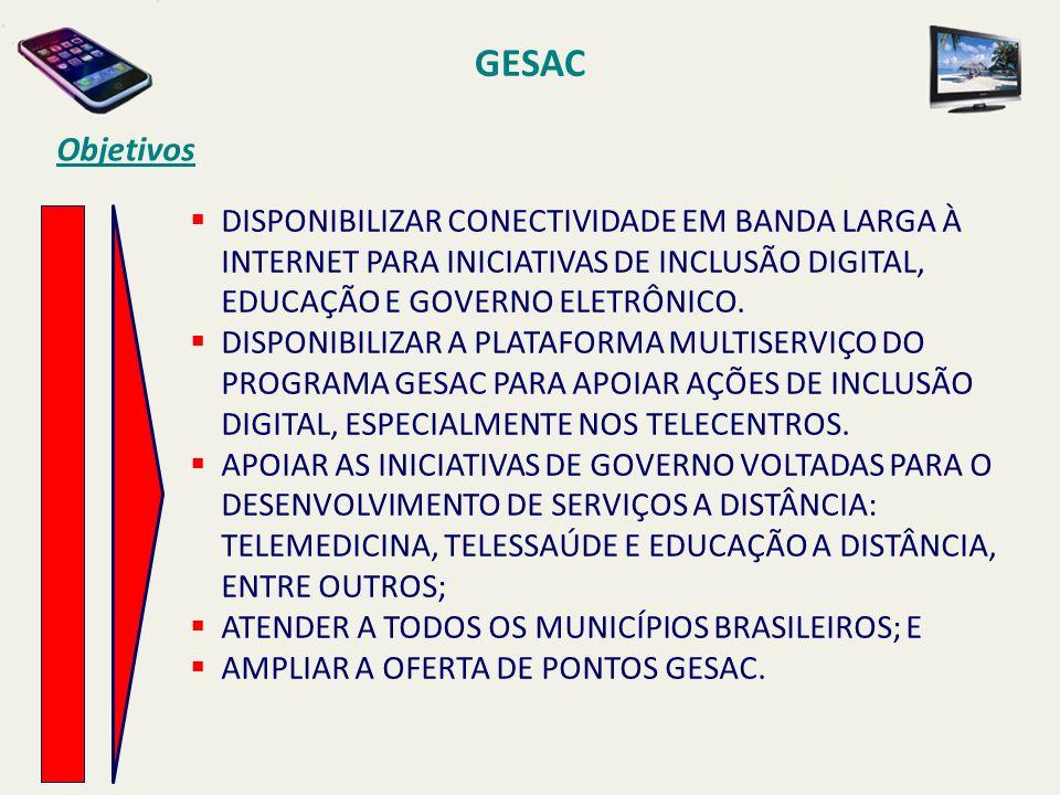 GESAC Objetivos. DISPONIBILIZAR CONECTIVIDADE EM BANDA LARGA À INTERNET PARA INICIATIVAS DE INCLUSÃO DIGITAL, EDUCAÇÃO E GOVERNO ELETRÔNICO.
