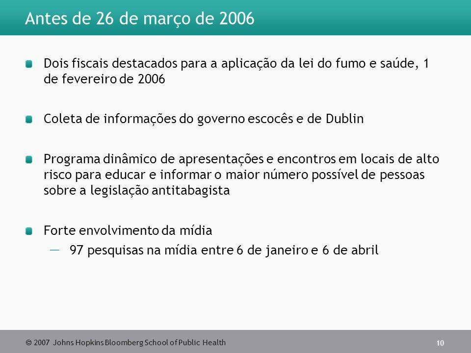 Antes de 26 de março de 2006 Dois fiscais destacados para a aplicação da lei do fumo e saúde, 1 de fevereiro de 2006.