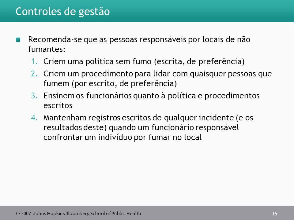 Controles de gestão Recomenda-se que as pessoas responsáveis por locais de não fumantes: Criem uma política sem fumo (escrita, de preferência)