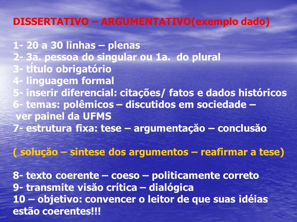 DISSERTATIVO – ARGUMENTATIVO(exemplo dado)