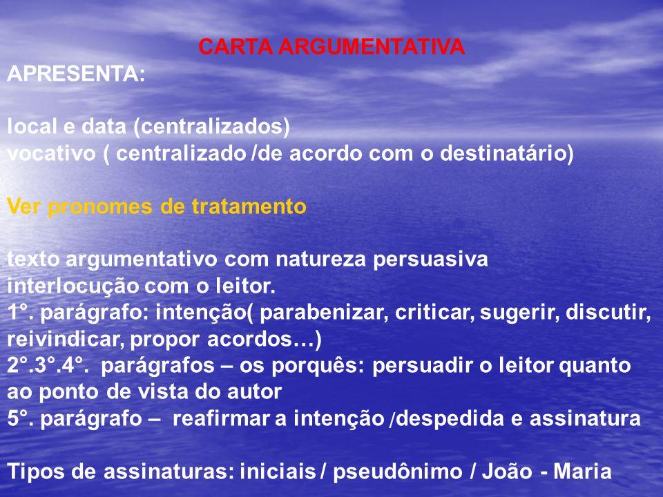 CARTA ARGUMENTATIVA APRESENTA: local e data (centralizados) vocativo ( centralizado /de acordo com o destinatário)