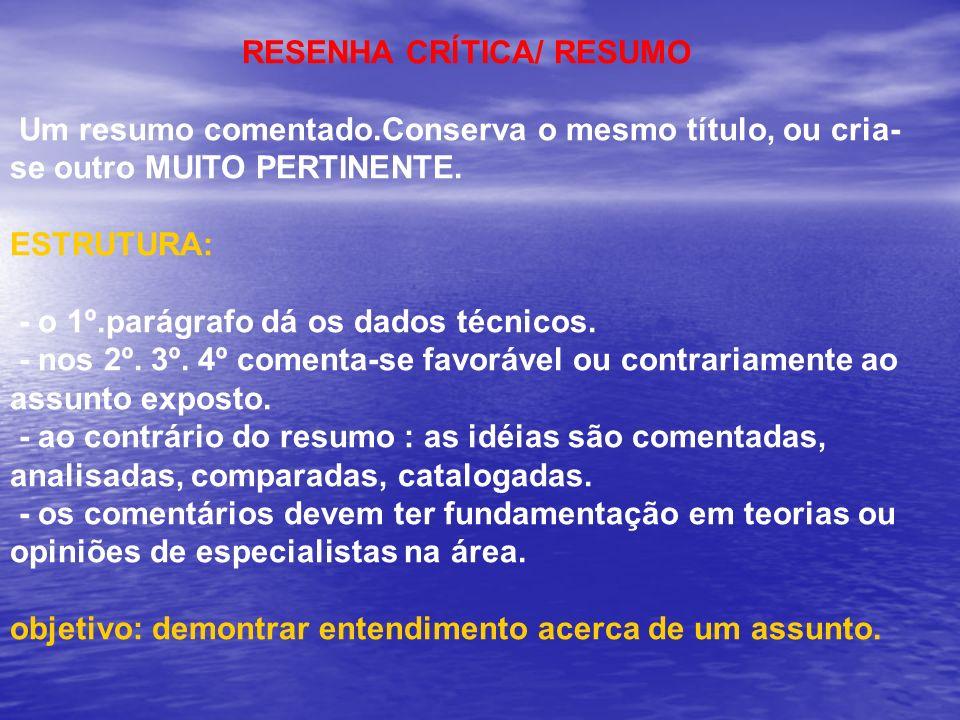 RESENHA CRĺTICA/ RESUMO